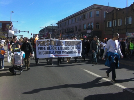 The activist group DenverABC marches to raise awareness of many US citizens held in political captivity.